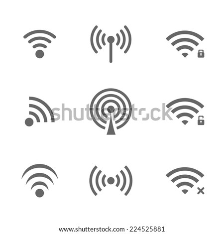 Black wireless access icon set isolated on white background