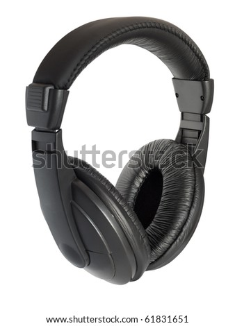 Black wireless stereo headphones. Isolated on white background with clipping path.
