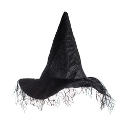 Black witches hat isolated on a white background