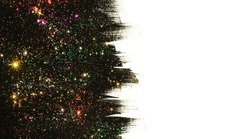 Black with glitter.  Hand painted brush strokes with colorful glitter on white background.