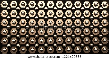 Black with gold industrial background. 3d illustration #1321670336