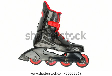 Black With Red Roller Skates Closeup Isolated On White ...