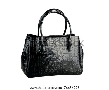 black woman handbag made of genuine leather isolated on white