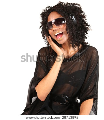 Black Woman Listening to Music With Wireless Headphones