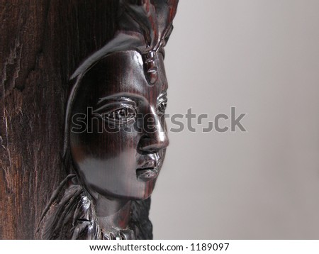 black woman's portrait made of wood #1189097