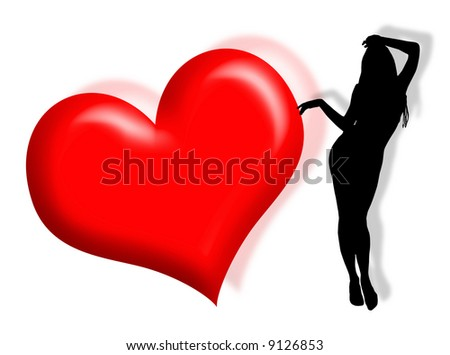 in love silhouette. woman silhouette in love