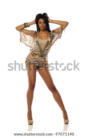 Black Woman wearing a short dress and high heels on a white background