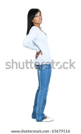 Black woman with back pain standing isolated on white background