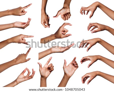 Black womans hands gestures and signs collection isolated on white background. Collage of multiple shots