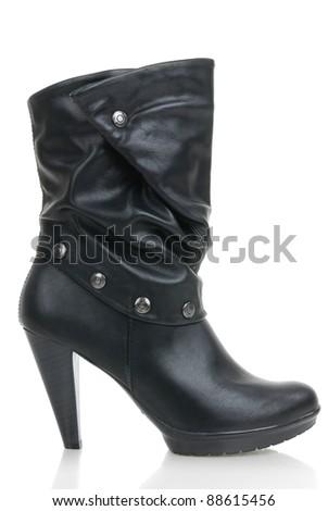 Black women boot isolated on white background - stock photo