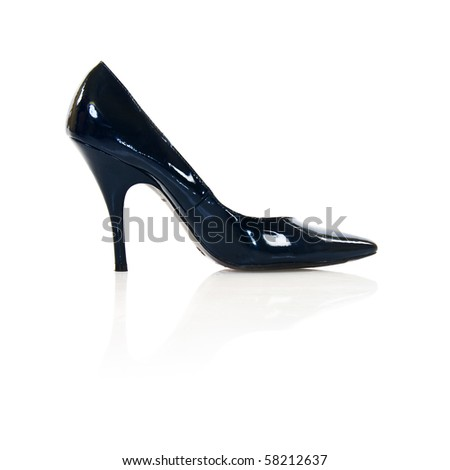 Black Women High Heels Shoe Isolated On White Background Stock Photo