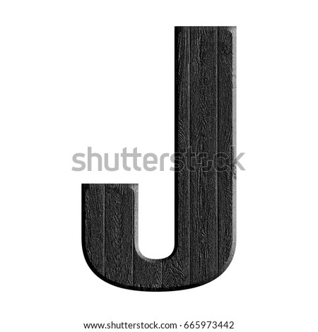 Black wood grain textured uppercase or capital letter J in a 3D illustration with a dark rough wooden texture surface style and bold font isolated on a white background with clipping path. Stock fotó ©
