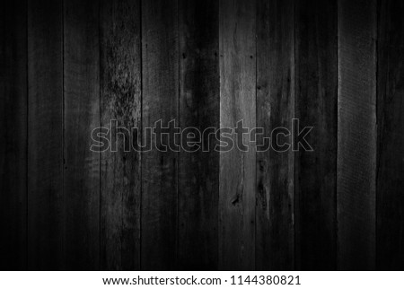 Black wood texture background coming from natural tree. Dark black Wooden panel with beautiful patterns. Space for work #1144380821