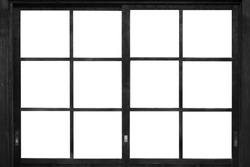 Black wood window frame isolated on white background