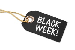 Black wooden hang tag with white letters message black week isolated on white background