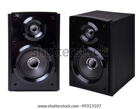 Black wooden loudspeaker isolated on white background #49313107