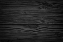 Black wooden plank, tabletop, floor surface or chopping, dark wood texture