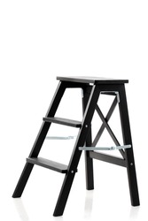 black wooden wardrobe ladder isolated on white background