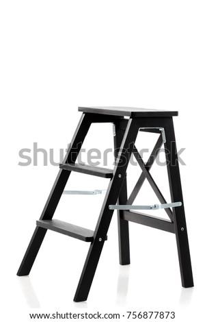 black wooden wardrobe ladder isolated on white background #756877873