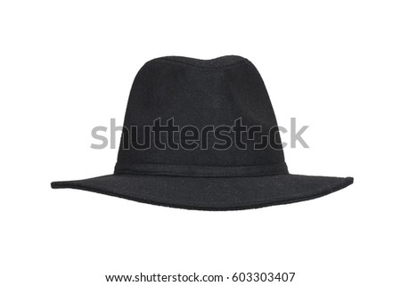 Black woolen hat isolated on white with clipping path. #603303407