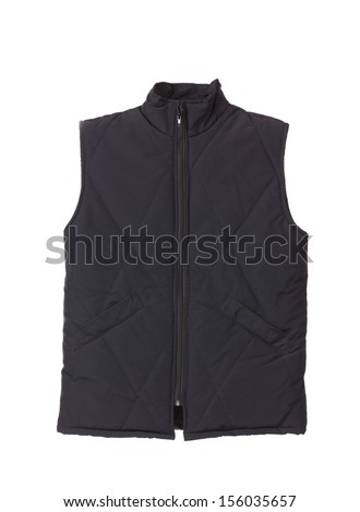 Black working winter vest. Isolated on white background.