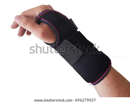 Black wrist splint for right hand male model. isolated white background - Shutterstock ID 696279037