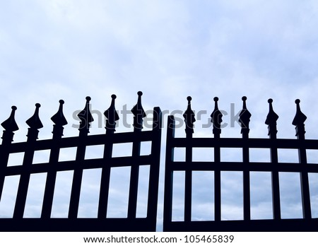 Black wrought-iron gate
