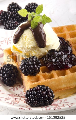 blackberries and home made waffle with vanilla ice cream