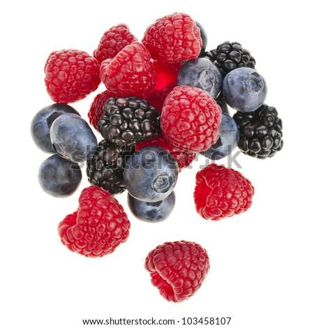 Blackberries ( dewberries), blueberries , raspberries on white background