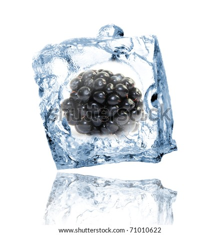 Blackberry in ice cube