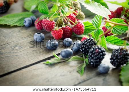 Blackberry, raspberry, blueberry in vegetarian food, in vegetarian eating