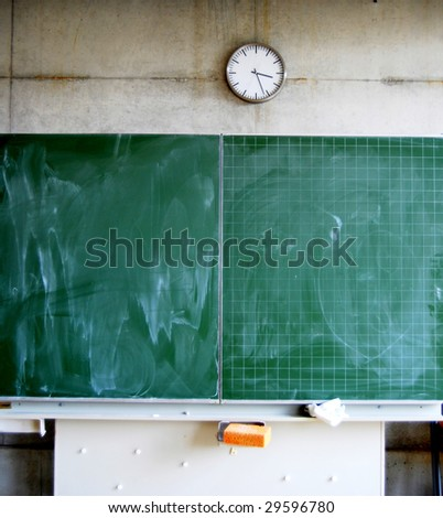 Blackboard and clock in a school
