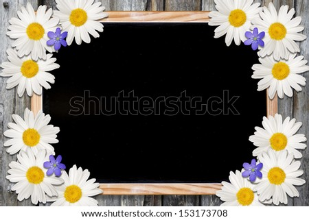 Blackboard and Flowers background with copy space