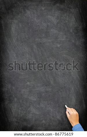 Blackboard / chalkboard. Black and vertical with hand writing with white chalk. Great texture with copy space. - stock photo
