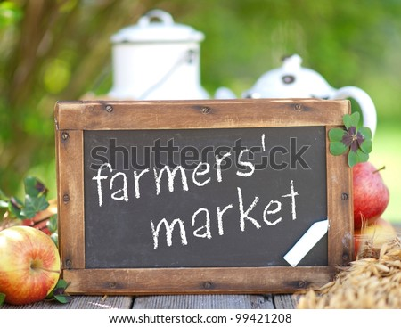 Blackboard, farmers' market