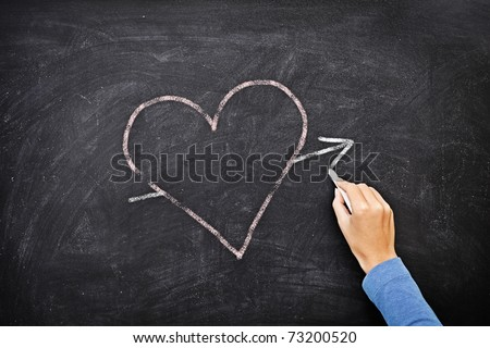 Blackboard heart - love concept. Hand drawing heart with chalk on chalkboard.
