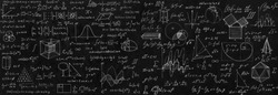 Blackboard inscribed with scientific formulas and calculations in physics and mathematics. Science and education background.