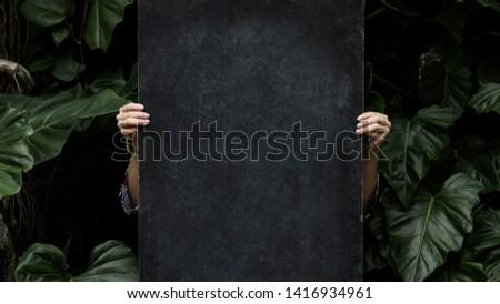 Blackboard mockup with leaves website banner template #1416934961