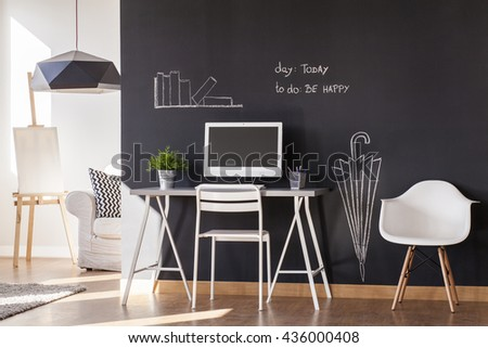 Blackboard paint flat design with white minimalist furniture