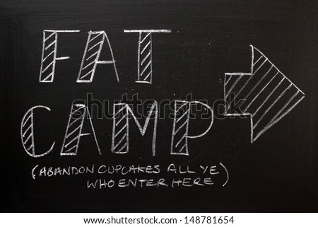 Blackboard sign pointing the way to Fat Camp and with the added words Abandon Cupcakes All Ye Who Enter Here. A funny look at the problem of obesity and diet as a health issue.