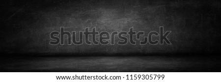 blackboard texture wall and black background, copy space long horizontal studio