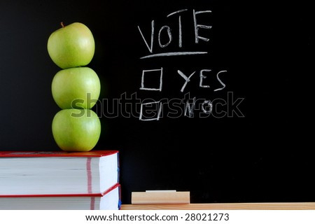 blackboard where you can vote yes or no - stock photo
