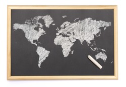 Blackboard with a chalk and the map of the world drawn onto. (series)