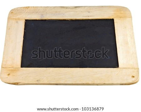 blackboard with a wooden frame isolated on white background.