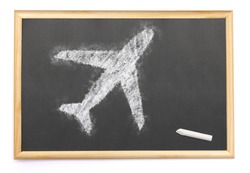 Blackboard with an airplane drawn on and a single chalk.(series)