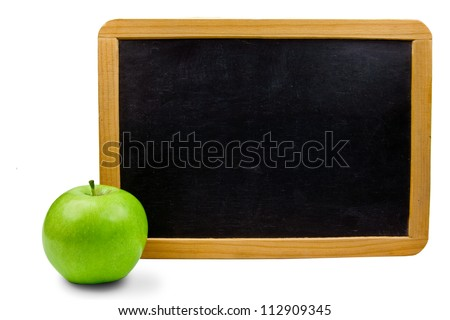 Blackboard with apple