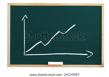 blackboard with positive business chart showing success