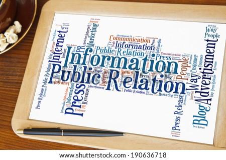 blackboard with public relation word cloud
