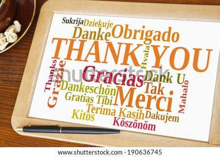 blackboard with thank you word cloud Stok fotoğraf ©