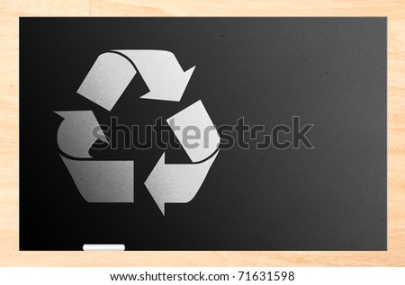 Blackboard with the recycling sign inside and wooden frame and white chalk. Illustration